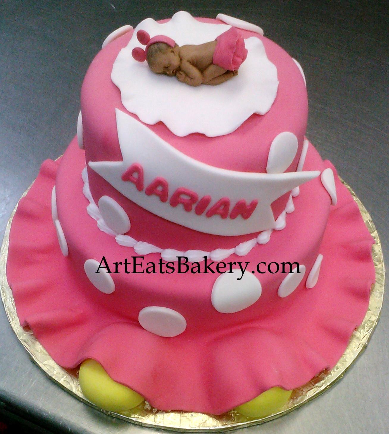 3D Pink and white polka dot custom modern girl's baby shower cake design with sleeping baby Miniie Mouse topper.jpg