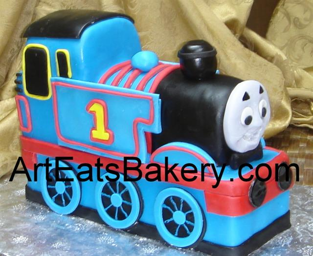 3D blue, red and black fondant Thomas the Train custom designed kid's birthday cake (1).jpg