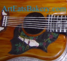 3D Gibson guitar creative modern custom 60th birthday cake with hand painted dove close up.jpg