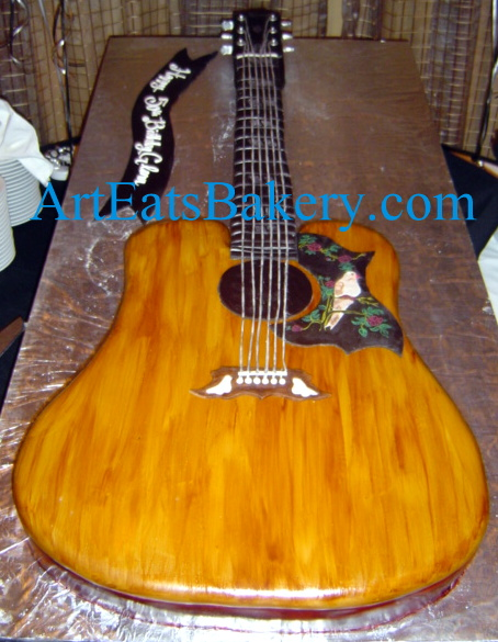 3D Gibson guitar creative modern custom 60th birthday cake with hand painted dove.jpg