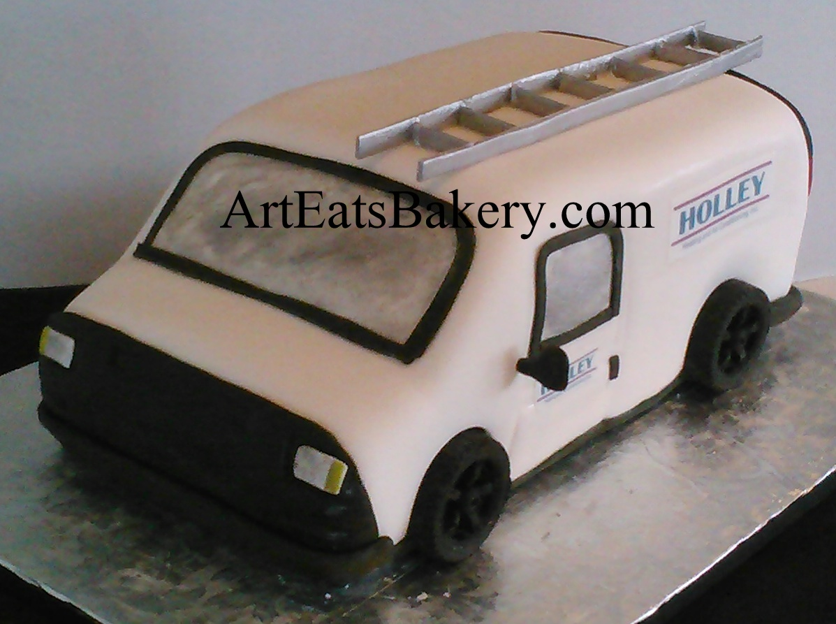 Work van 3D groom's cake with Holley Heating and Air Logos, edible ladder and chocolate tires.jpg