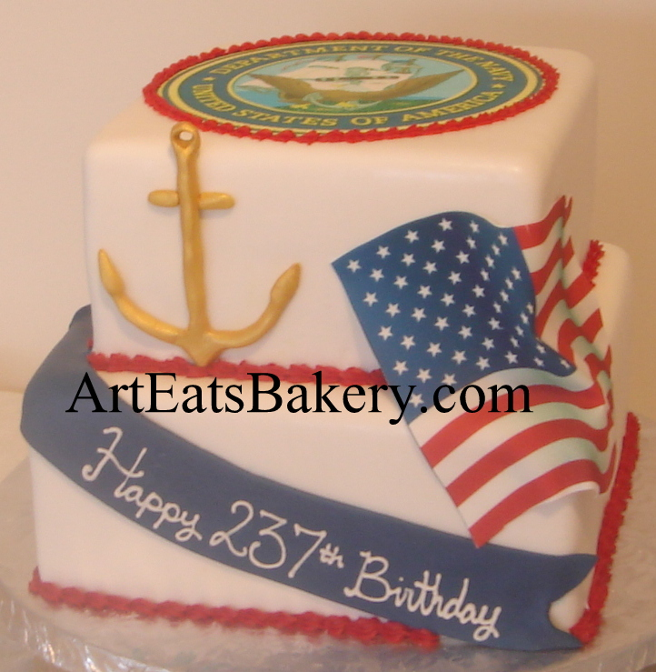 Two tier square custom red, white and blue U.S. Navy birthday cake design idea with gold anchor, Navy emblem and edible American flag.jpg