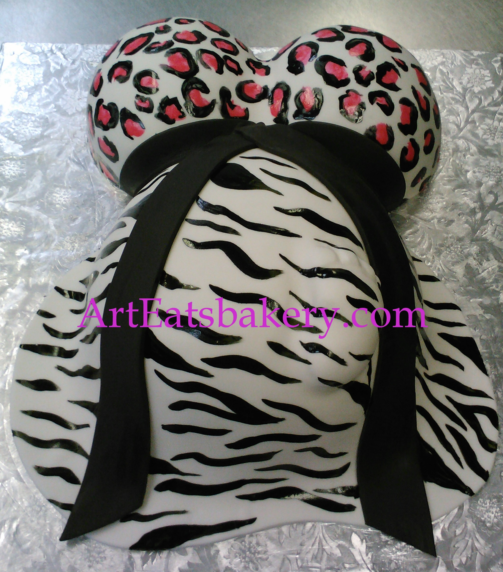 Zebra and cheetah print black, pink and white baby bump baby shower cake design.jpg