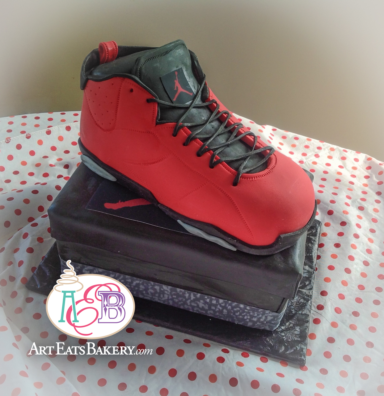 Red and black fondant 3D Men's Nike shoe and box custom modern  birthday cake design.jpg