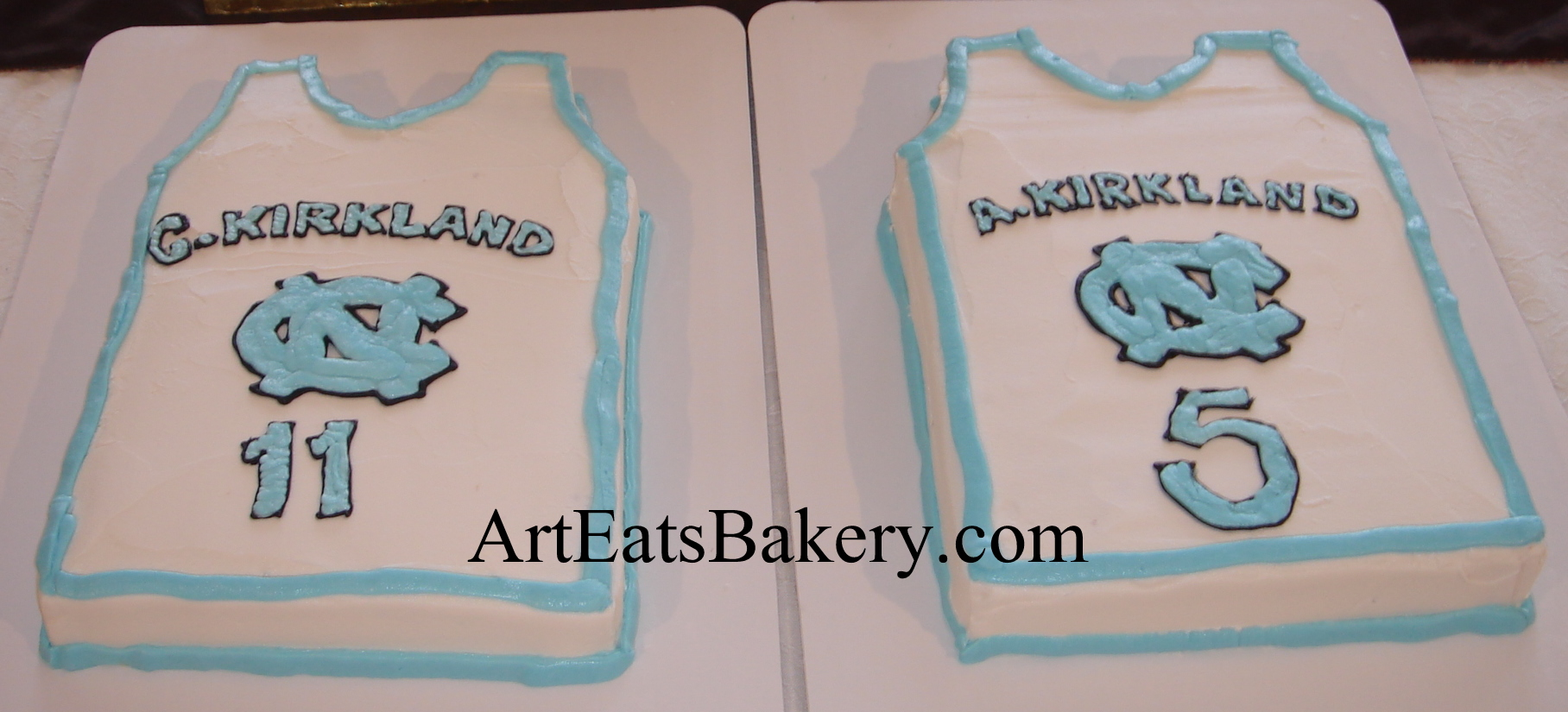 University of North Carolina basketball jersey custom twin birthday cakes..jpg
