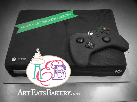 3D black XBOX custom creative fondant birthday cake design with hand made edible controllor.jpg