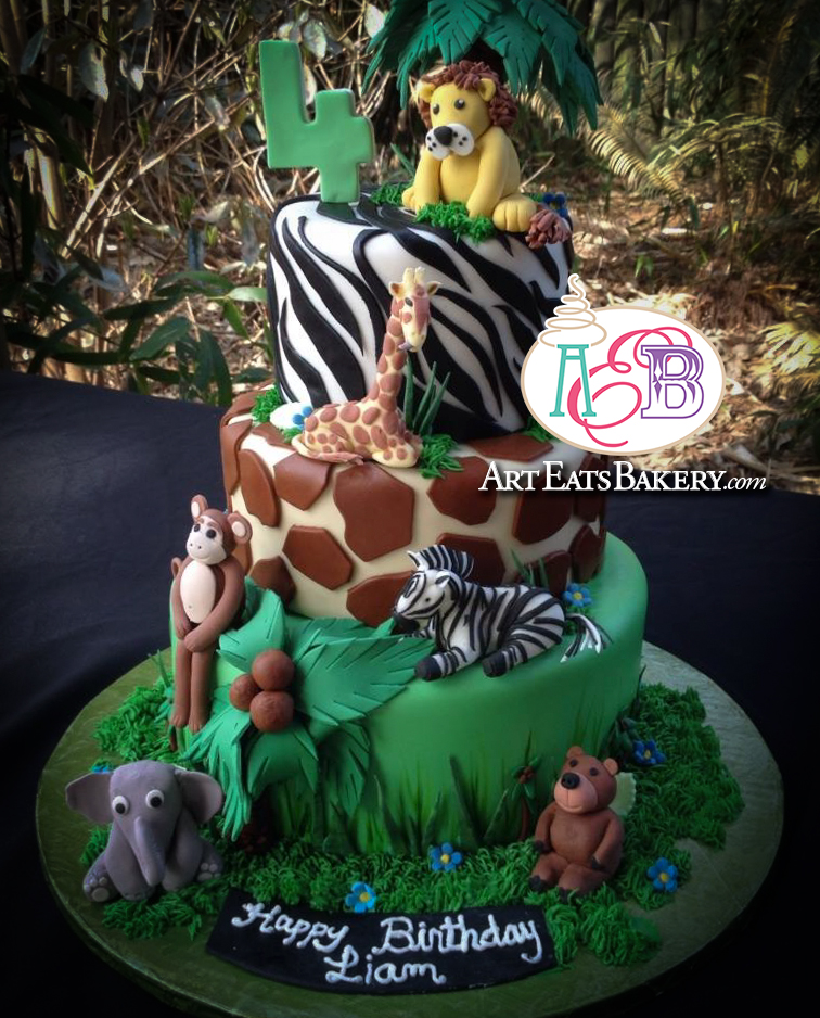 Kid's edible zoo animals custom kid's fondant birthday cake with palm tree, lion, giraffe, zebra,elephant, bear and monkey 2.jpg