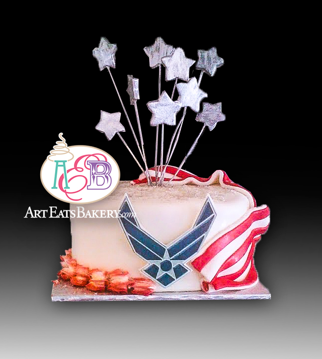 Airforce birthday cake design with flag, silver stars and wing logo.jpg