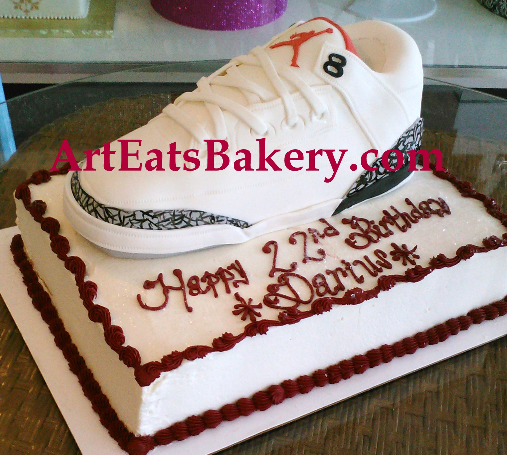 Edible Nike Air Jordan shoe with cement design on men's butter cream birthday cake.jpg