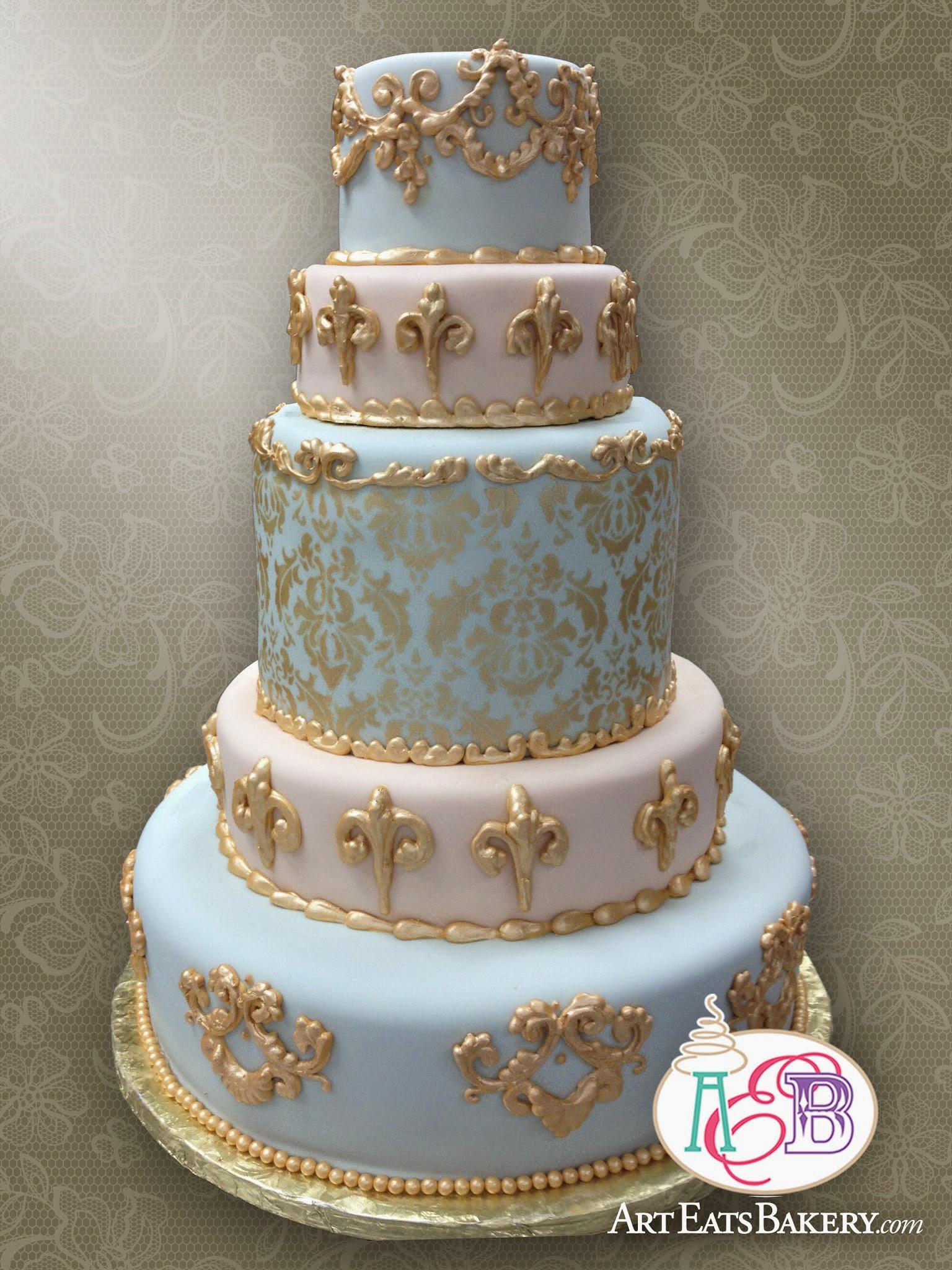5 Tier Elegant Baroque blue and pink ornate elegant fondant Wedding Cake with Gold Damask Pattern and flourishes design.jpg